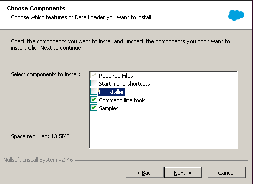 Salesforce Data Loader Installation Wizard: Select packages